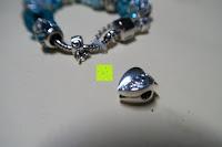 Herz: A TE® Armband Charms Damen Kristall Blau Muranoglas Blume Glasperle Mädchen Geschenk Frauen #JW-B94