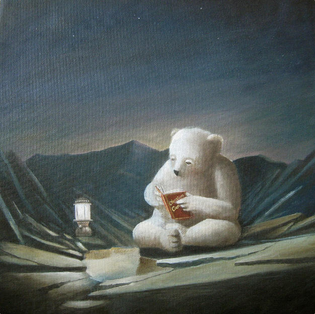 Polar bear reading Christmas books
