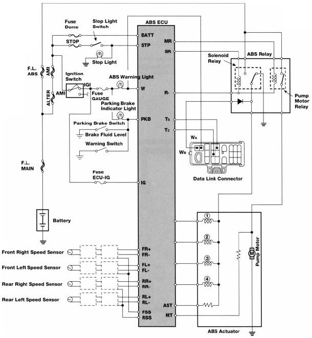 toyota anti lock brakes electrical wiring diagram manual