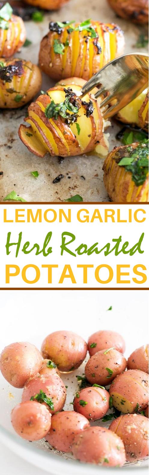 Vegan Lemon Garlic Herb Roasted Potatoes #vegan #dinner #sidedish #potatoes #glutenfree