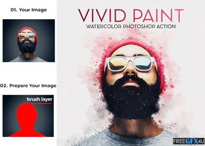 Vivid Paint Watercolor Photoshop Action
