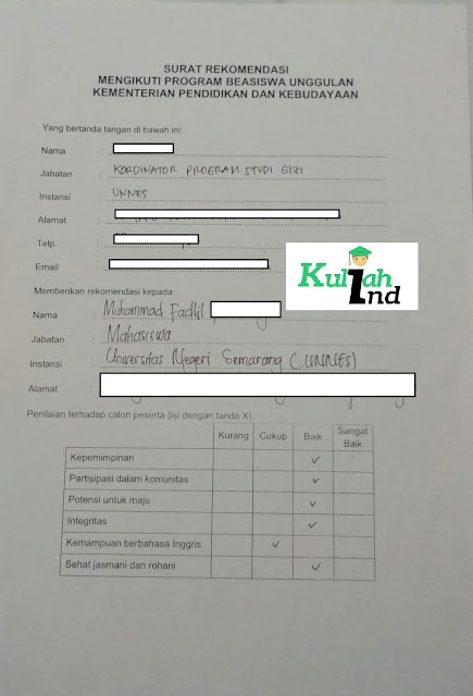 gambar contoh isi surat rekomendasi beasiswa unggulan