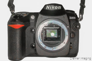 Cramer Imaging's photo of a Nikon D200 camera showing the sensor on a white background