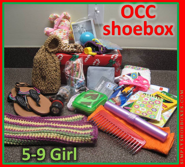 Operation Christmas Child shoebox example for 5 to 9 year old girl.