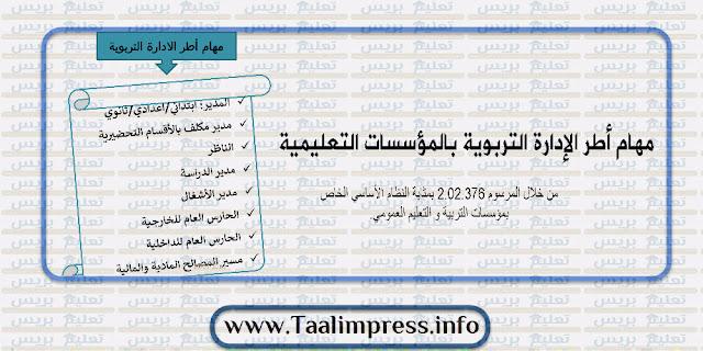 مهام أطر الإدارة التربوية بالمؤسسات التعليمية حسب المرسوم 2.02.376 - عرض