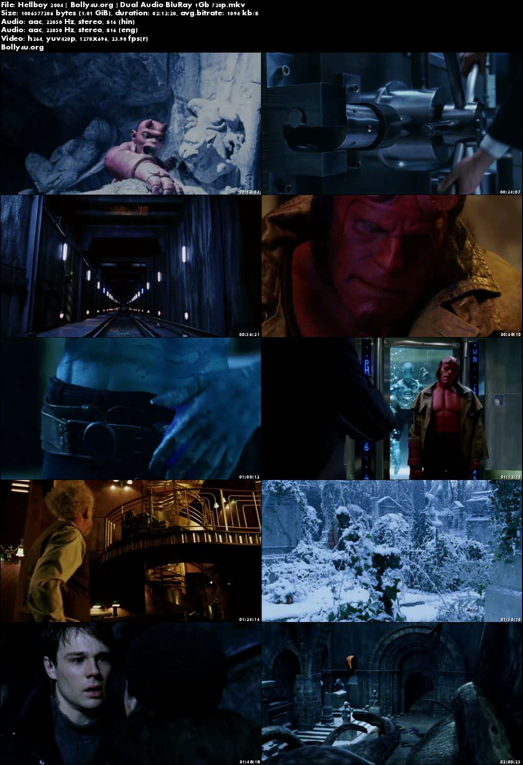 Hellboy 2004 BRRip 400Mb Hindi Dual Audio 480p Download