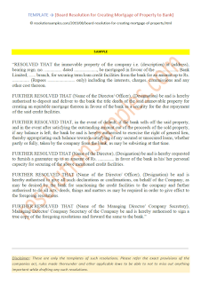 format of board resolution for creating mortgage of property