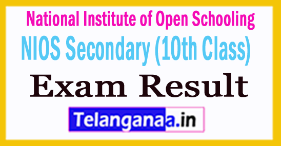 NIOS Secondary (10th Class)  Exam Result 2018