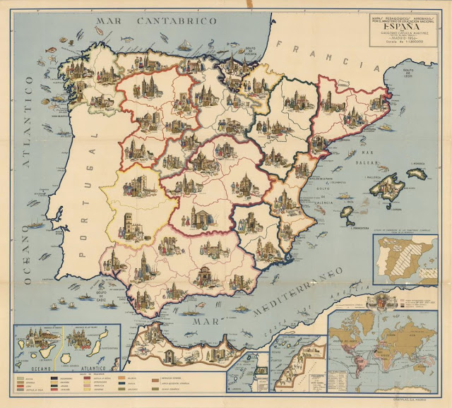 1954. A map of Spain, approved by the country's Ministry of National Education