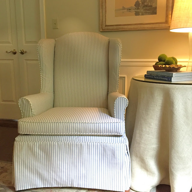 Wing Chair Slipcovered In Blue And Cream Ticking Stripe
