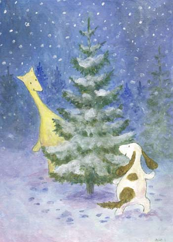 Postcard illustration of Hulmu Hukka and Haukku Spaniel playing around a spruce tree in a winter evening