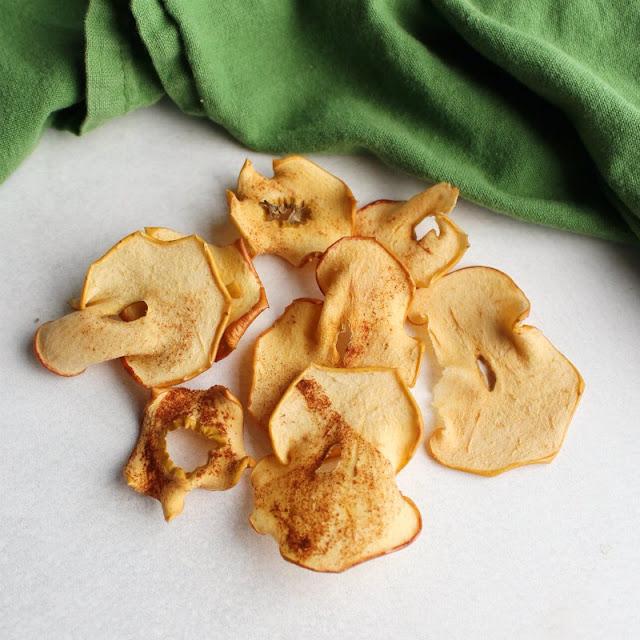pile of homemade oven baked cinnamon sugar apple chips