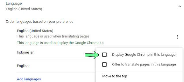 Mengganti bahasa google chrome  pc