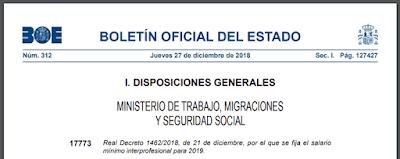 Real Decreto 1462/2018 por el que se establece el salario mínimo para 2019