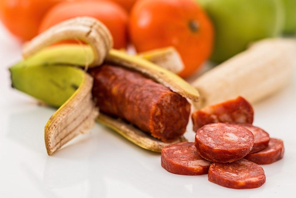 Sausage in banana