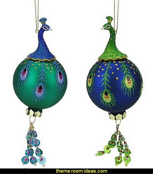 peacock Regal Glass Ball With Dangle Christmas Ornament