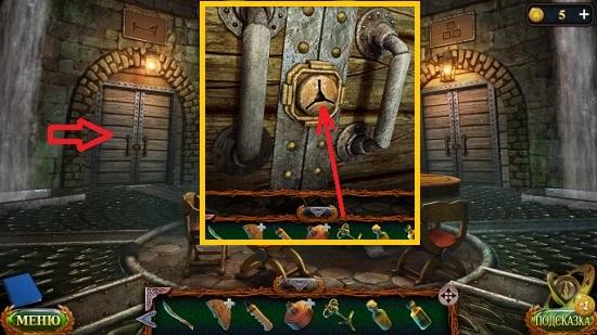 ключом открываем двери в другую комнату в игре затерянные земли 6