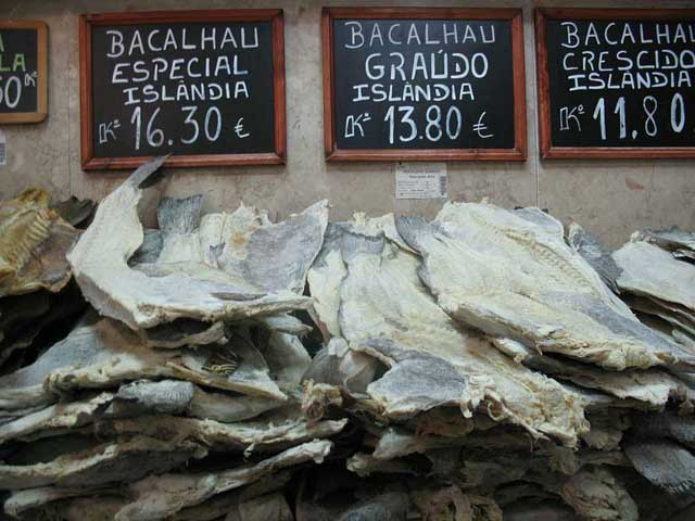 Bacalhau on sale at a supermarket in Portugal