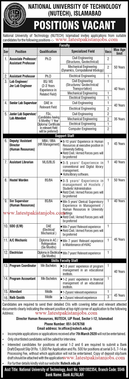 Latest National University Of Technology (NUTECH), Islamabad | 50 Plus Jobs