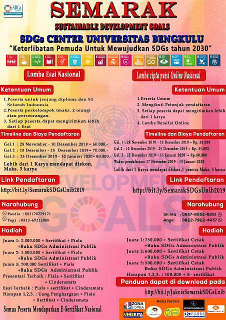 Lomba Esai Nasional SEMARAK SDGs CENTER UNIVERSITAS BENGKULU
