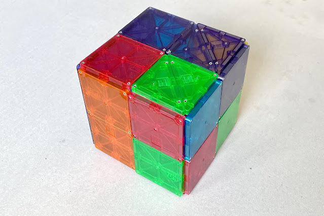 A large cube made with Magna-Tile squares and triangles