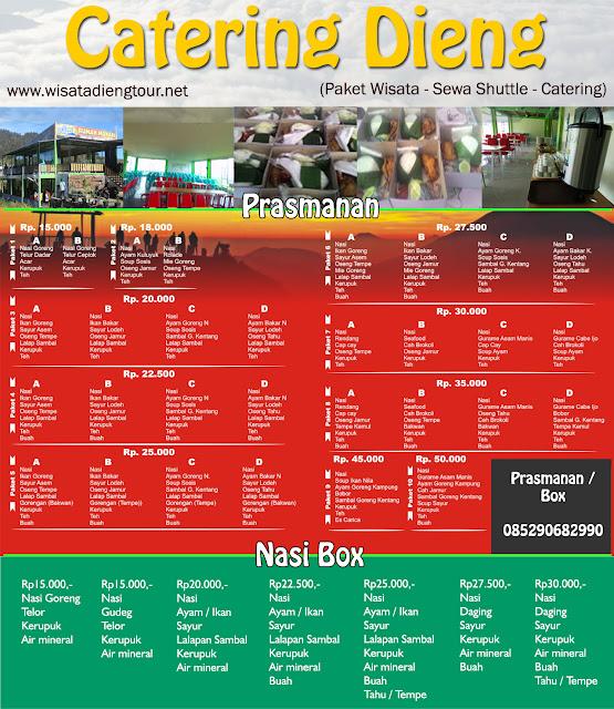 daftar harga catering di dieng