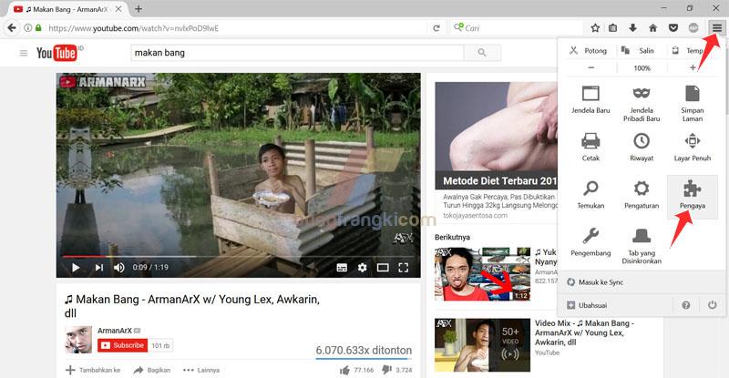 Menampilkan tombol IDM di Youtube pada Mozilla Firefox