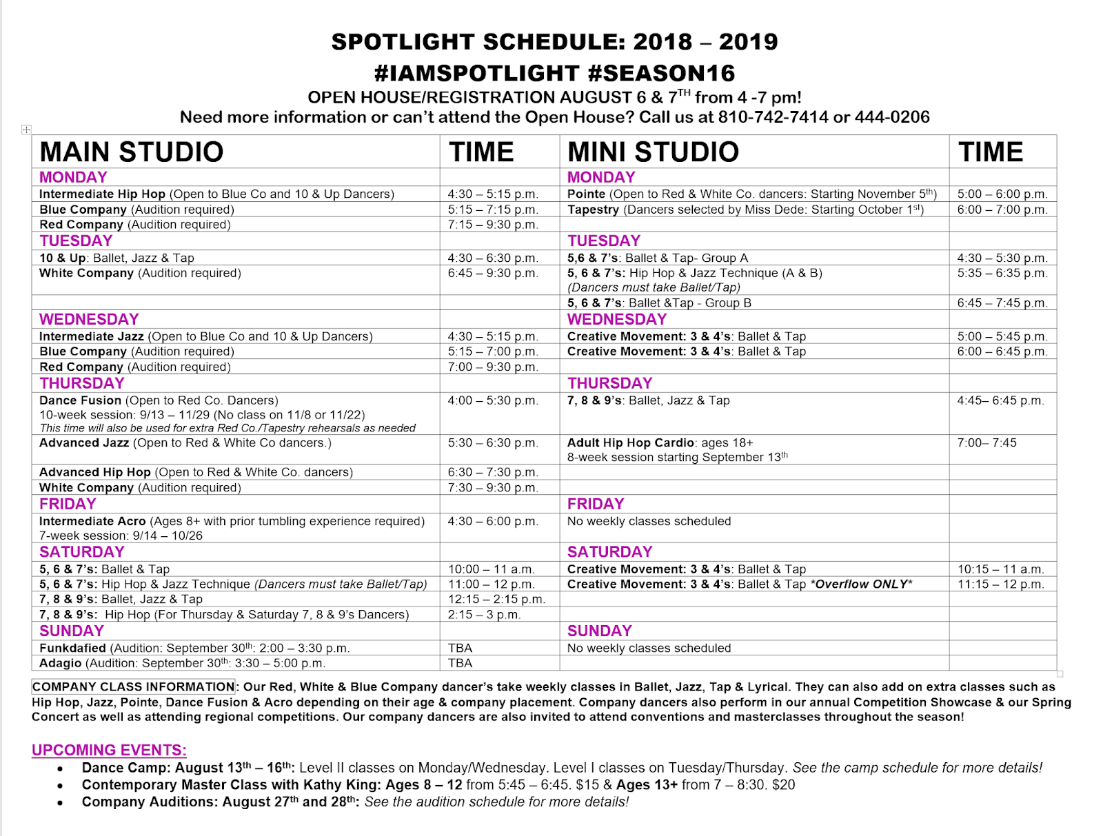 DeCamp's Spotlight School of Dance: 2018 -2019 Audition Music