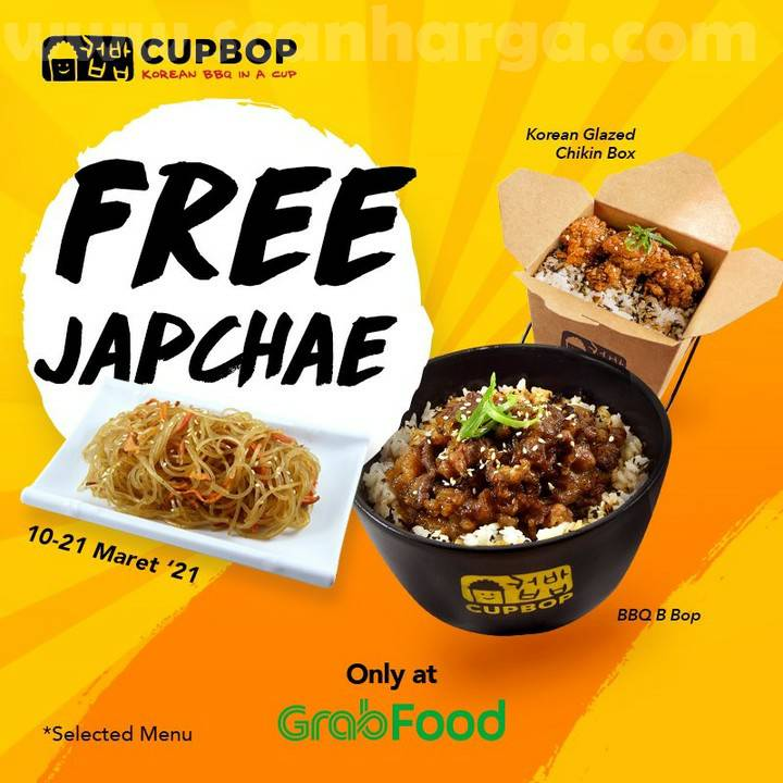CUPBOP Promo GRATIS Japchae + Chicken Mandu via aplikasi GOFOOD dan GRABFOOD