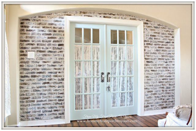 French Farmhouse Foyer-Faux Brick Wall-Office-From My Front Porch To Yours