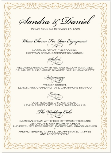Bengali Marriage Food Menu Card