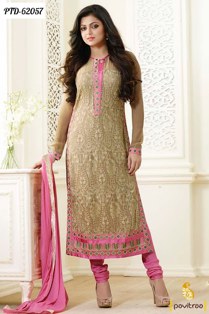 Madhubala Drashti Dhami beige color chiffon designer dresses and salwar suit online for wedding
