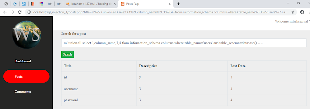 Getting Columns Of users Table