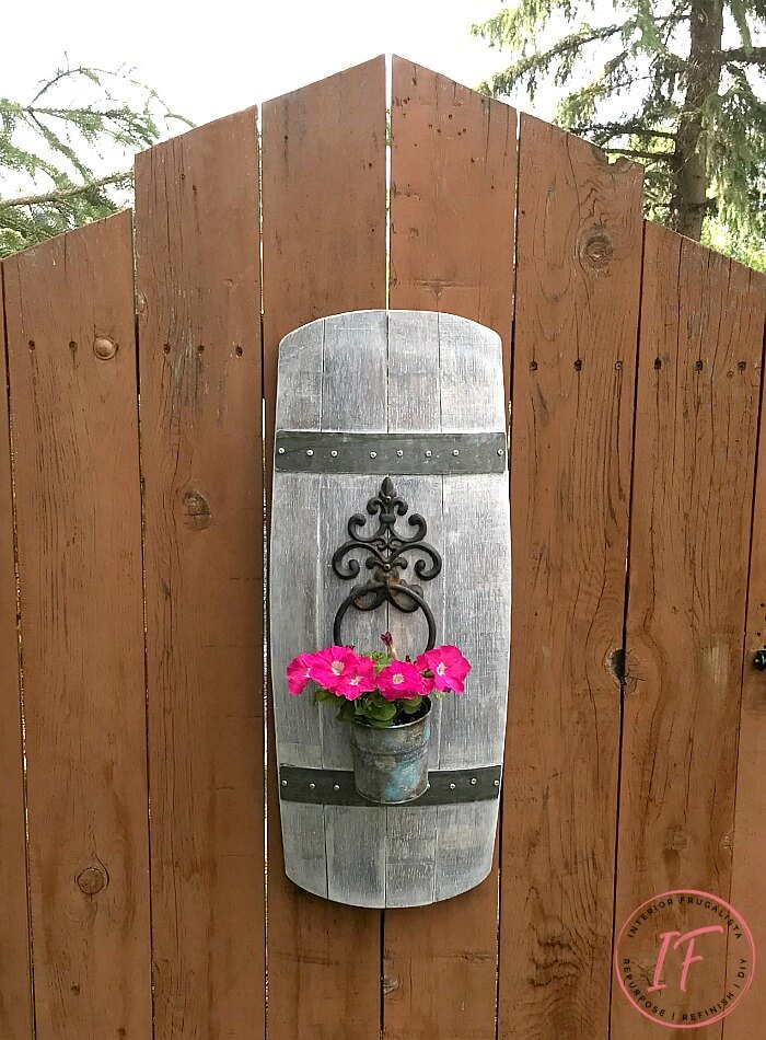 Outdoor Wine Barrel Stave Flower Pot Hanger