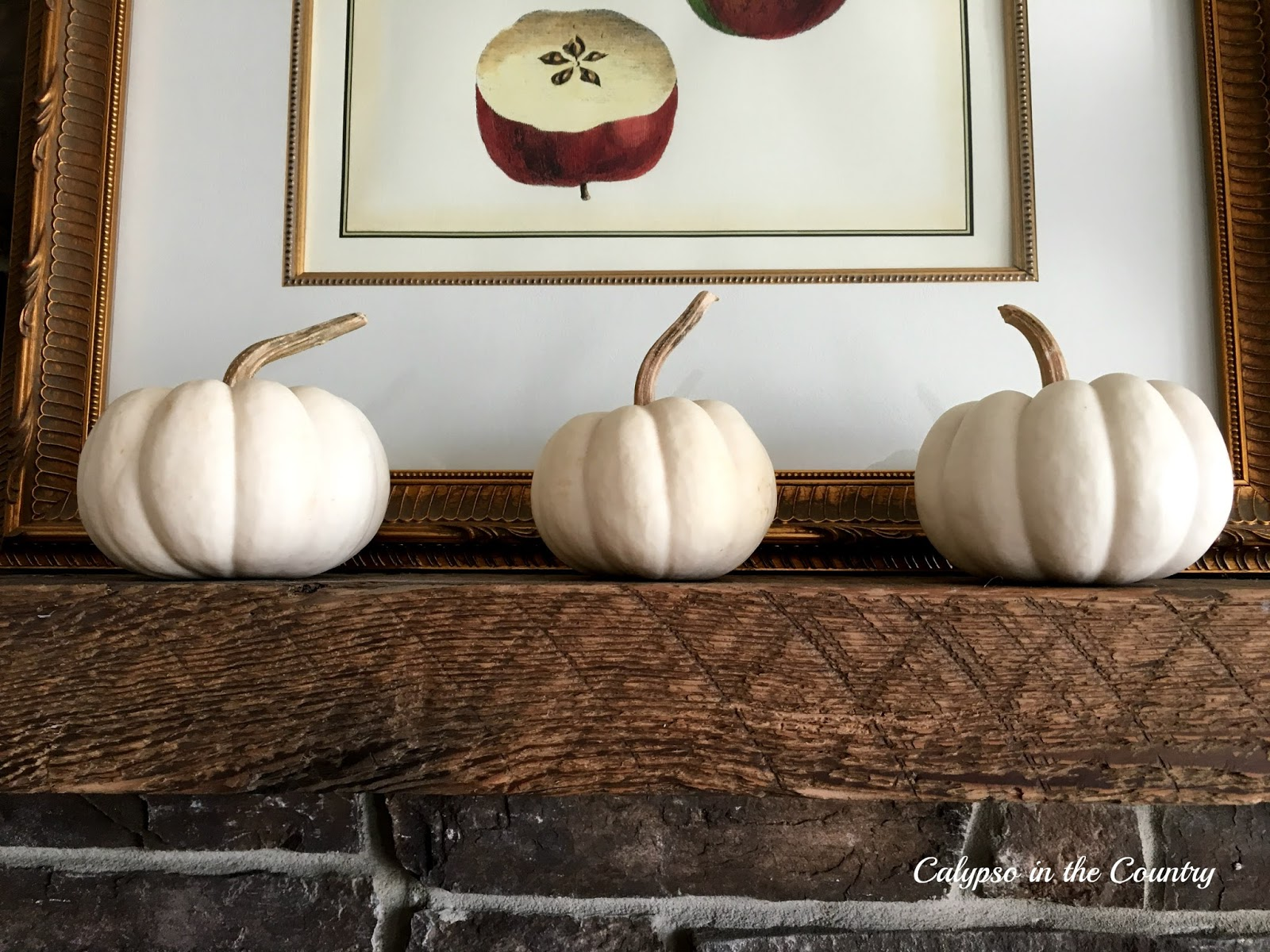 White Pumpkins - Part of my latest fall mantel decor