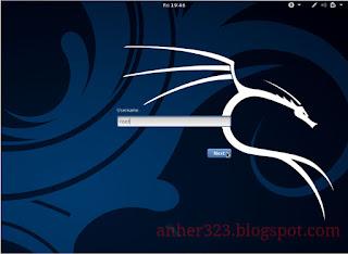 Screen Login Kali Linux sebelum diganti