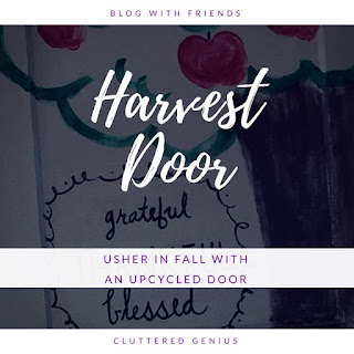 Blog With Friends, multi-blogger posts. This month's theme: Apples | Upcycled Harvest Door by Lydia of Cluttered Genius | Shared on www.BakingInATornado.com