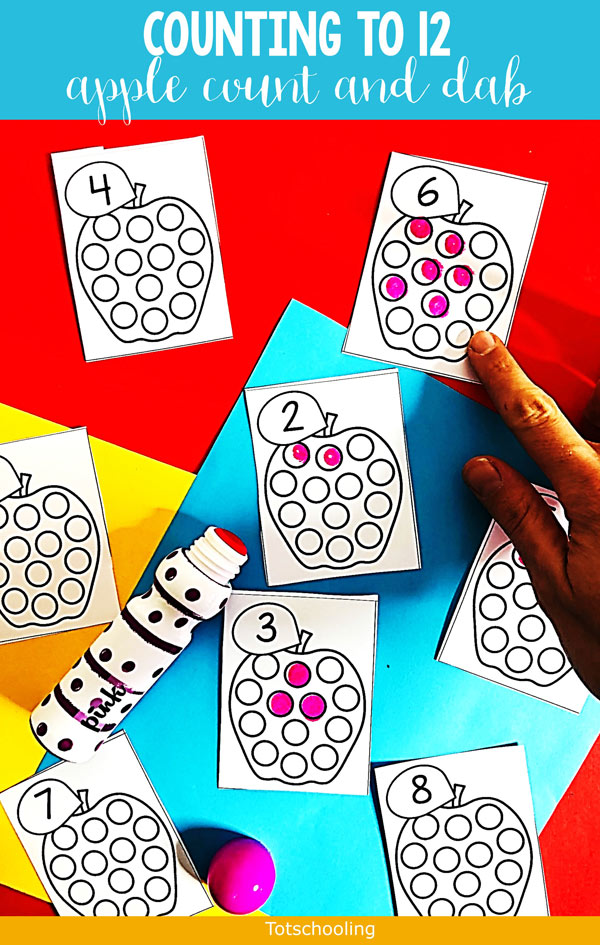 FREE printable Apple Count and Dot cards to use with dot markers to practice counting, number recognition and one-to-one correspondence. Great for a Fall math activity for preschool kids.