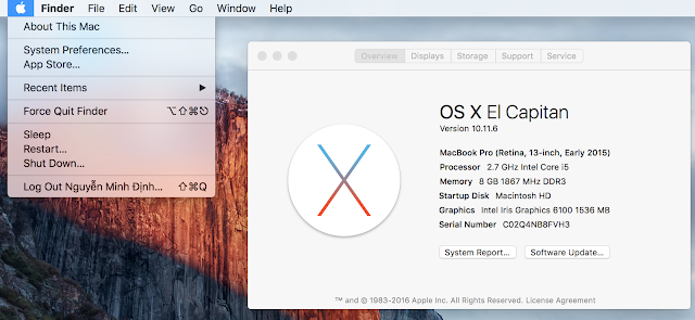 Kiểm tra cấu hình máy macbook