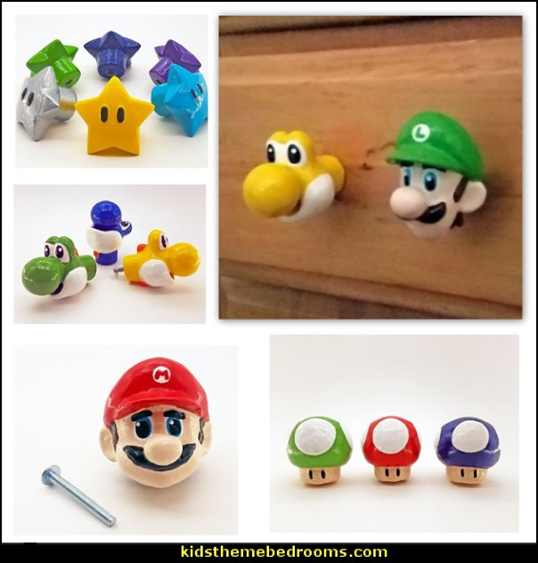 Luigi Drawer Knobs - Super Mario Cabinet Pulls  Gamer bedroom - Video game room decor - gamer bedroom furniture - gamer wall decal stickers - Super Mario Brothers Wall Stickers - gamer bedding - Super Mario Brothers bedding - Pacman decor -  Retro Arcade bedrooms - 80s video gamers - gamer throw pllows - minecraft bedroom ideas - minecraft bedroom decor