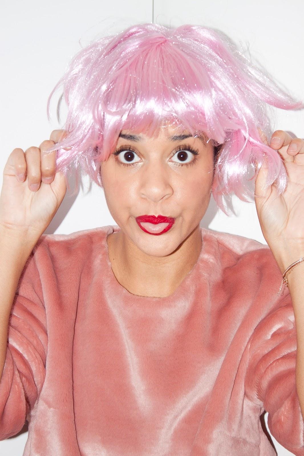 cheveux rose perruque
