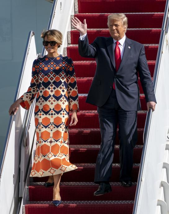 Trump y Melania en su llegada a florida