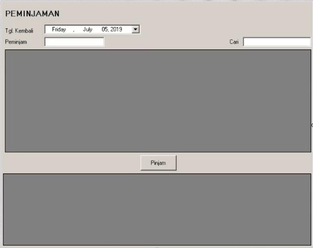 Desain form peminjaman aplikasi inventaris menggunakan vb.net