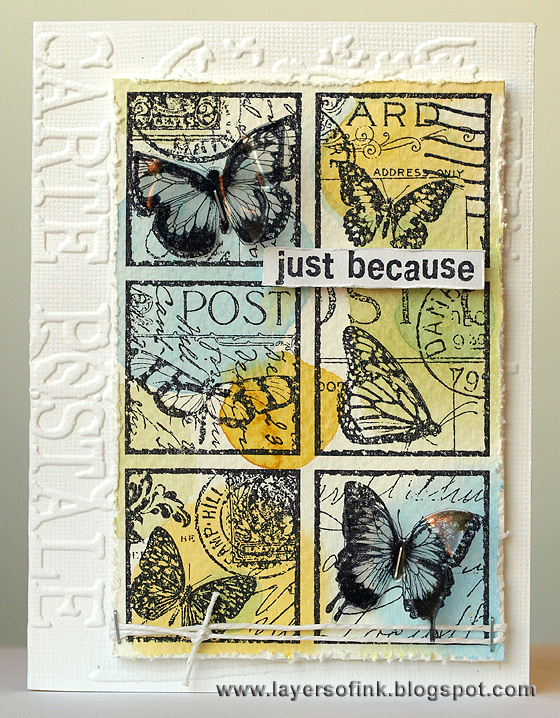 Butterfly Post Collage - Layers of ink