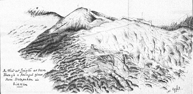 The fort at Lingtu as seen through a powerful glass from Dolepchen village in Sikkim. Lieutenant C. J. Markham (1890) Report On The Sikhim Expedition