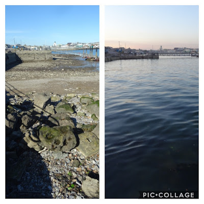 Double shot of same harbour with tide in and out