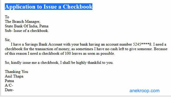 application to issue a checkbook