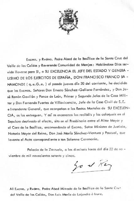 Carta del rey Juan Carlos
