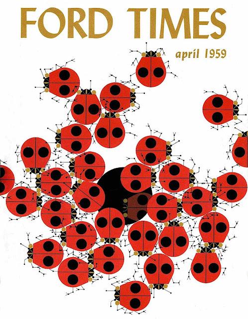 Charles Harper illustration for Ford Times 1959, ladybugs