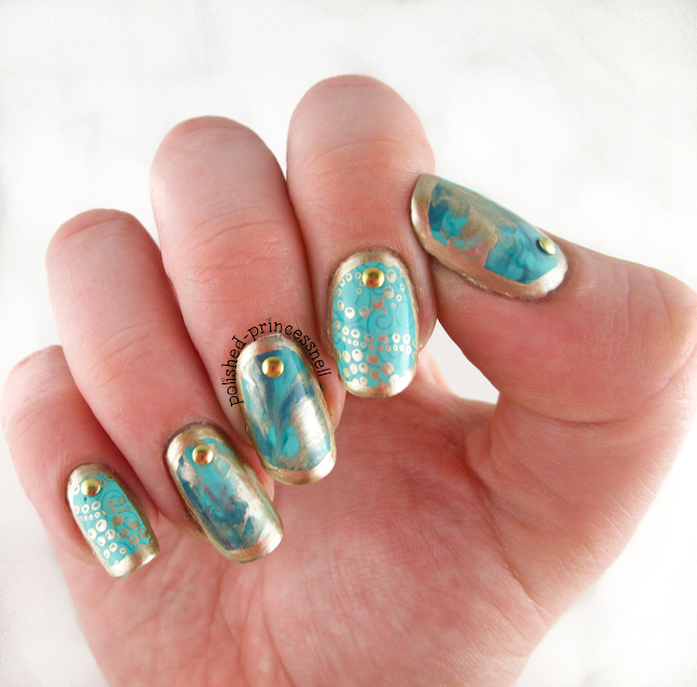 Turquoise Stiletto Nail Art: Polished Princessnell: Gold And Turquoise Nails